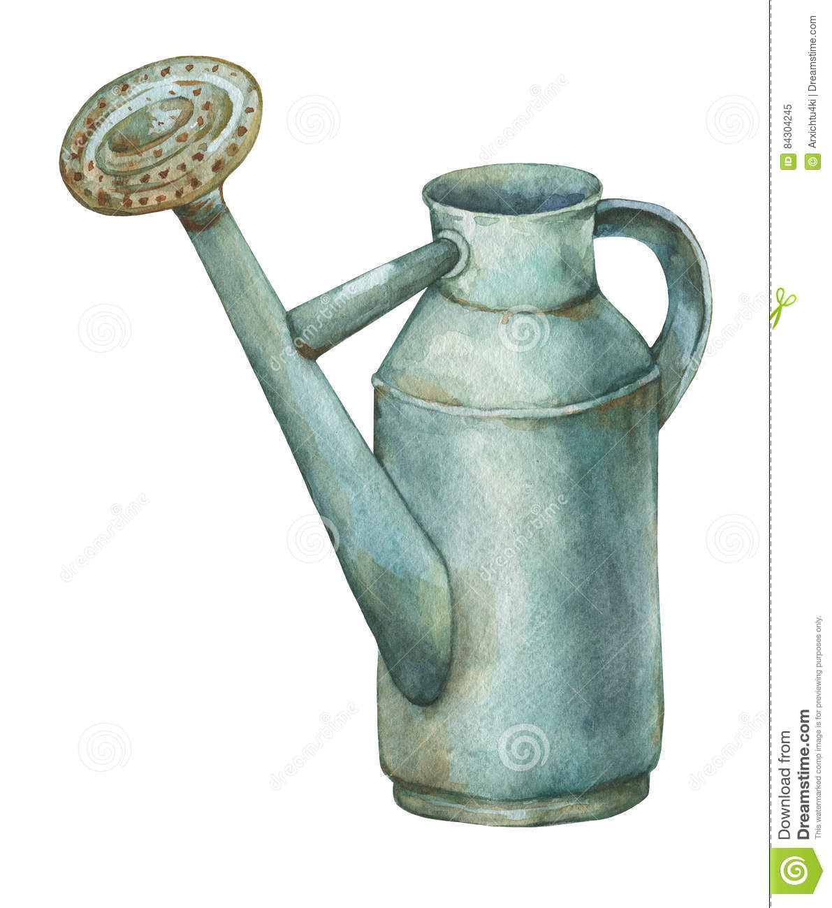 Gardening Tools Rusty Tin Watering Can For Watering Flowers Stock Illustration Illustration