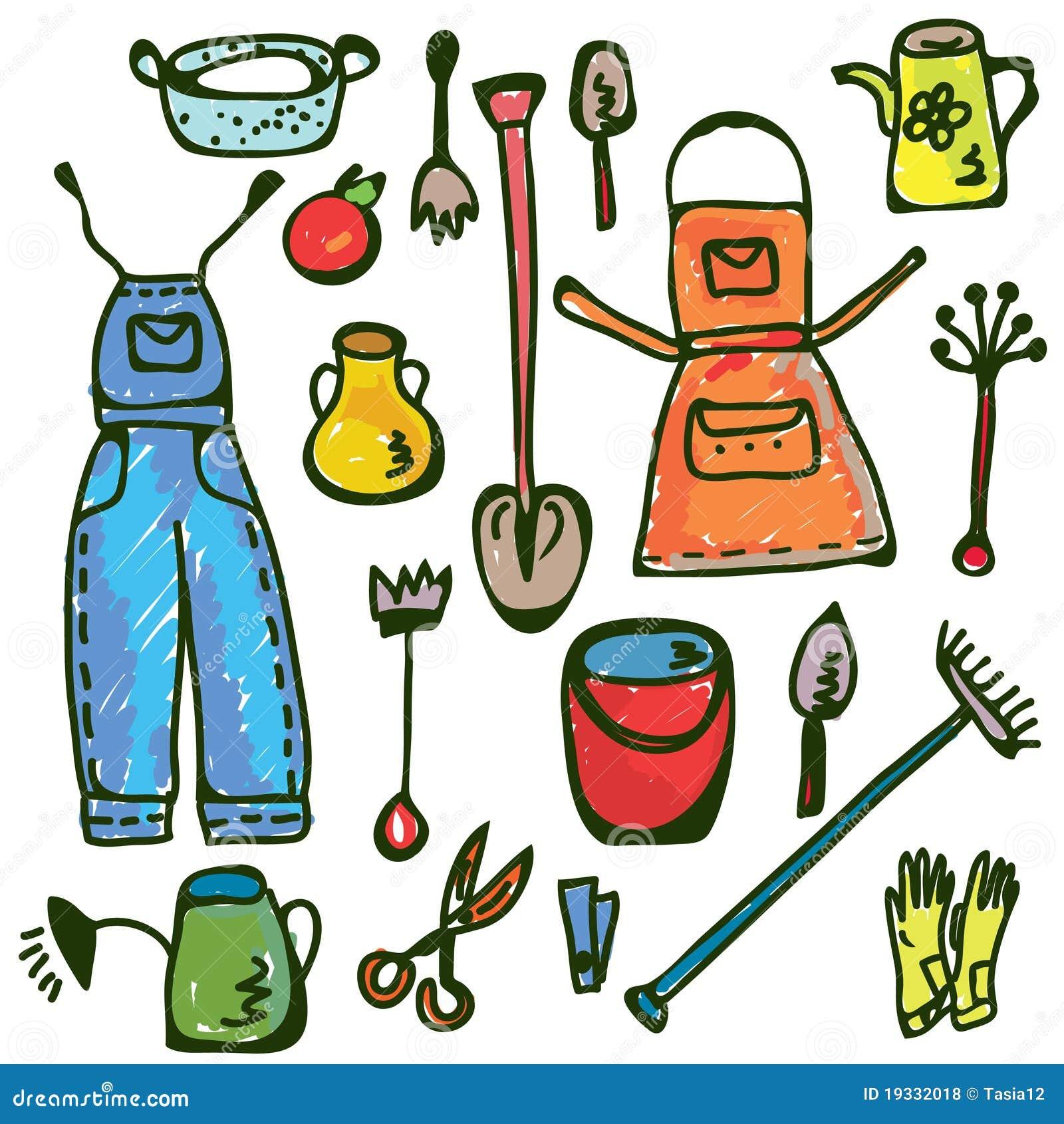 Gardening tools set funny doodle stock vector image for Garderoben set funny
