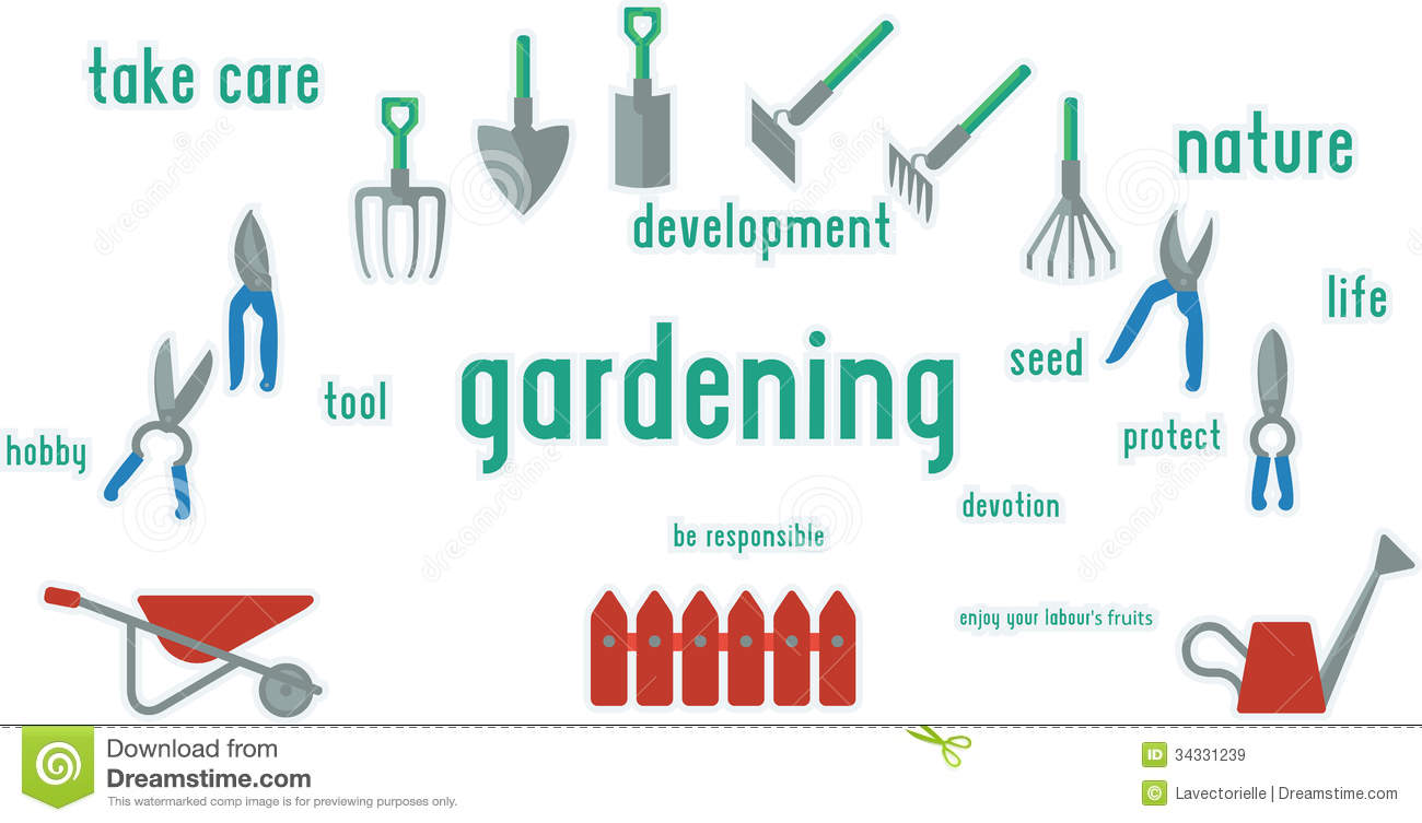 Gardening tools set of illustration stock image image for Arid garden design 7 little words