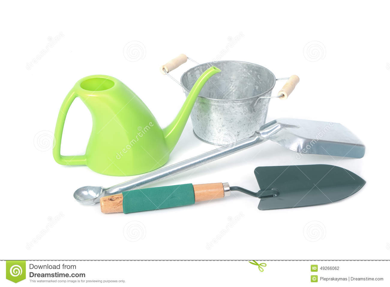 Gardening tools shovel watering and galvanized flower for Gardening tools watering