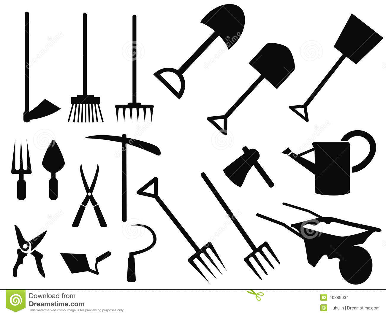 Gardening Tools Silhouette Vector Set Stock Vector Image