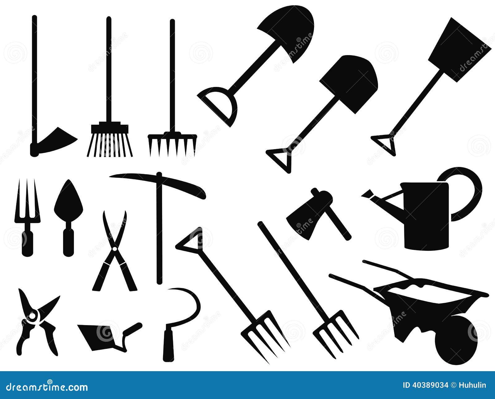 Gardening tools silhouette vector set stock vector image for Gardening tools vector