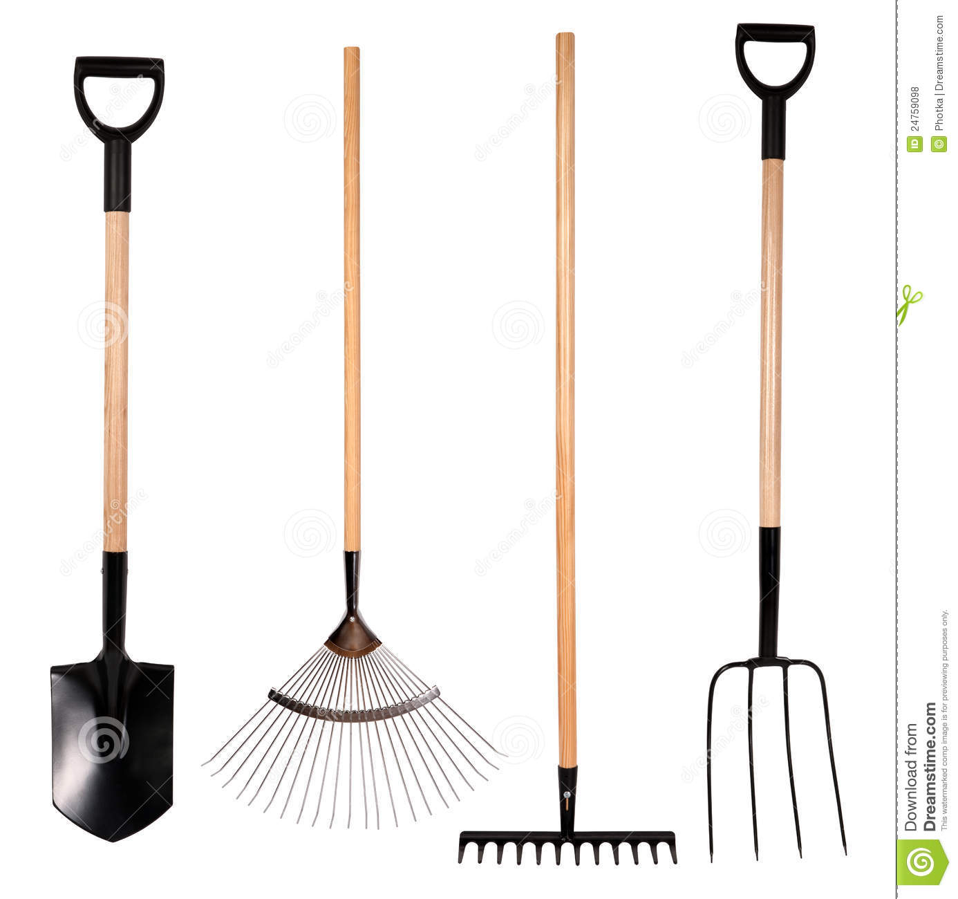 Gardening tools spade fork and rake stock photo image for Garden equipment tools