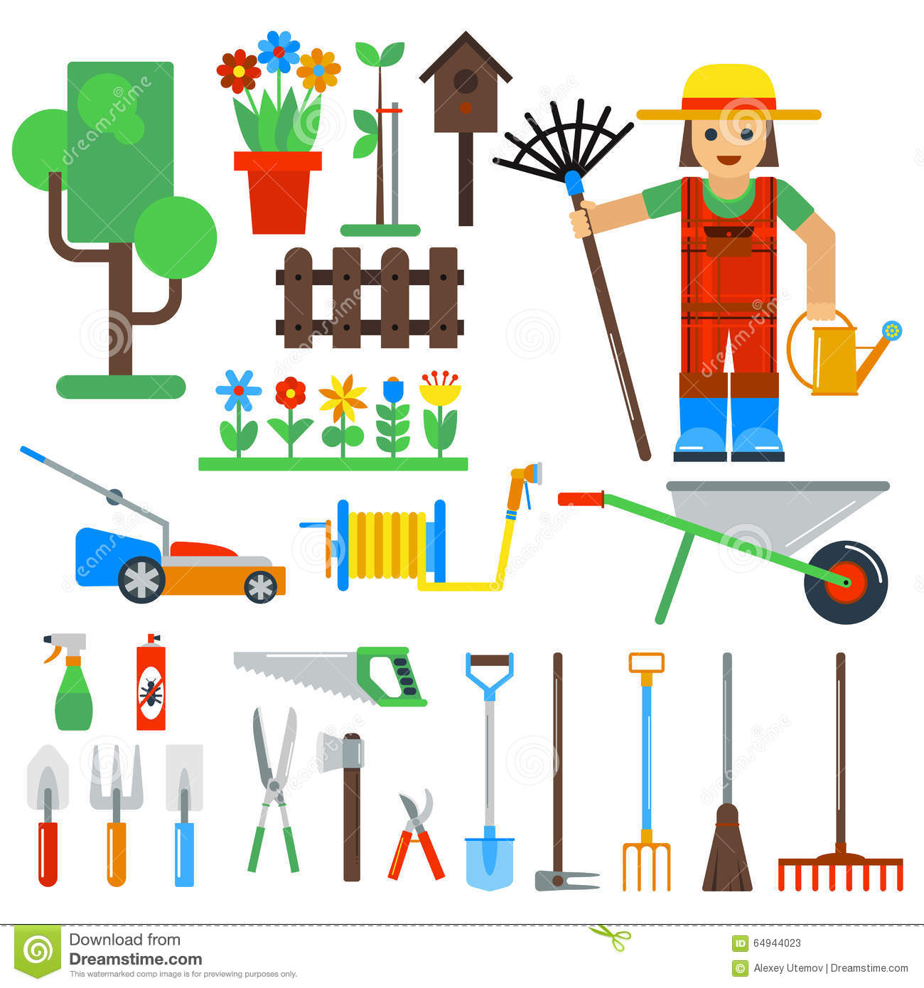 Gardening tools vector icons isolated on white cartoon for Gardening tools vector