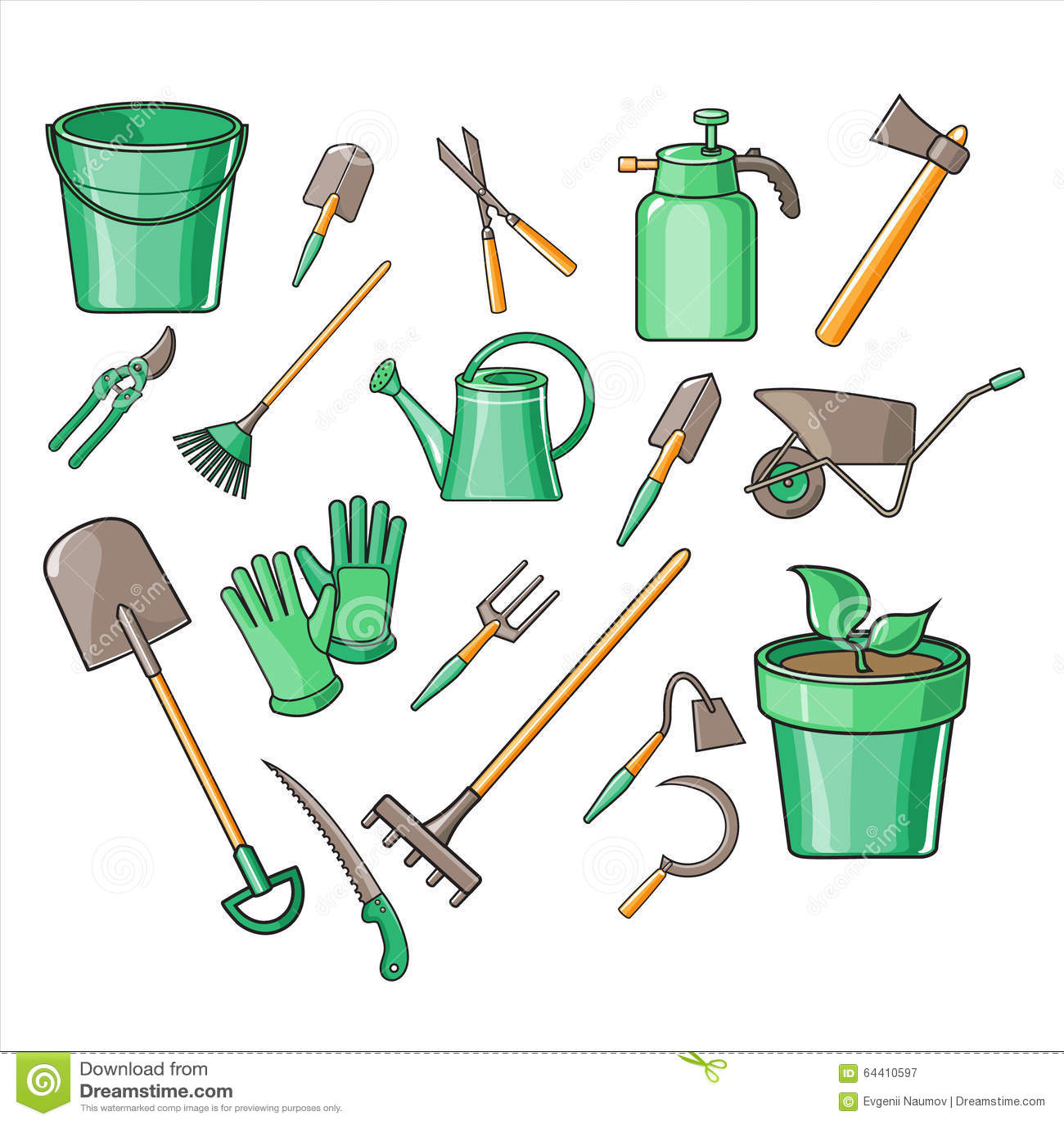 Gardening tools vector illustration set stock vector for Gardening tools vector