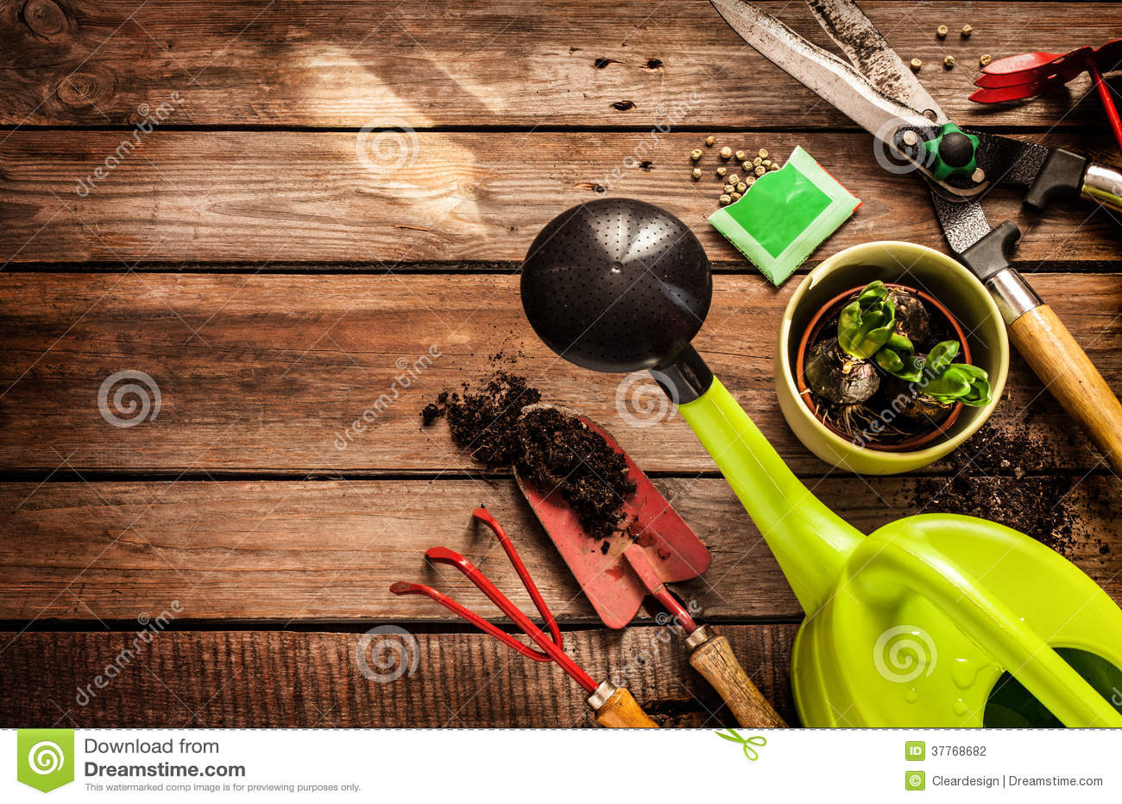 gardening tools on vintage wooden table spring stock photography image 37768682. Black Bedroom Furniture Sets. Home Design Ideas