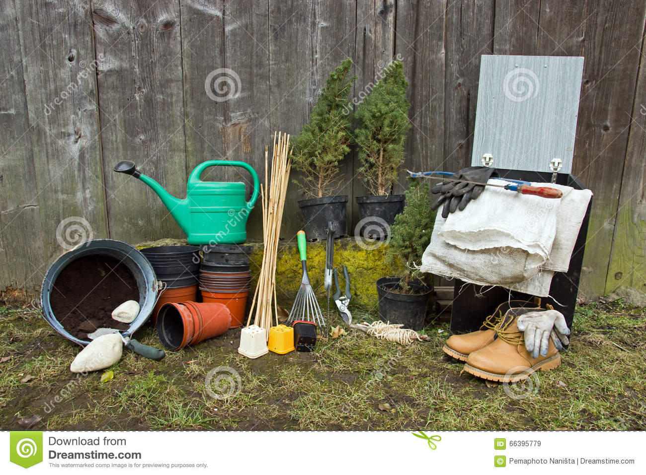 Gardening tools stock image 66395779 for Gardening tools watering