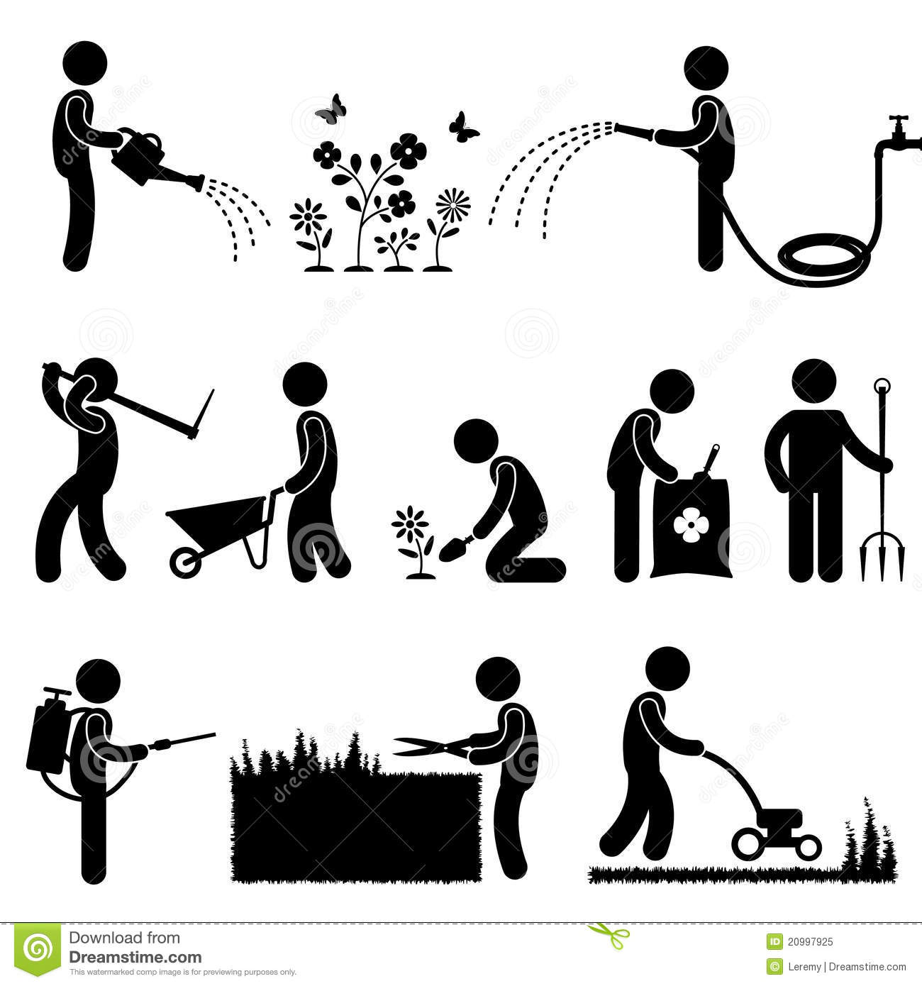 gardening work plant flower grass pictogram icon s royalty clip art lawn mower races clipart lawn mower black and white