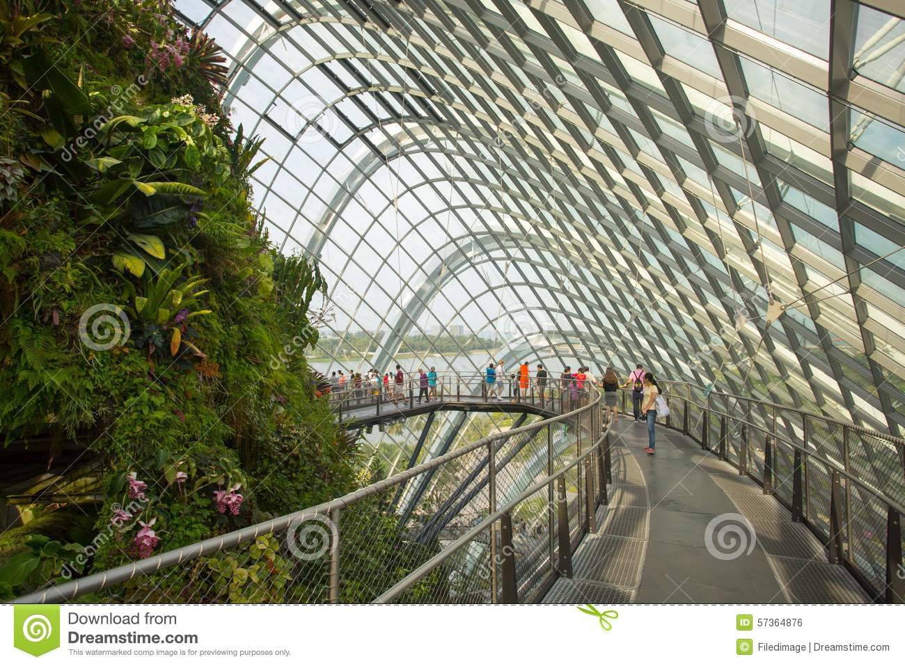 gardens by the bay cloud forest dome in singapore stock photo