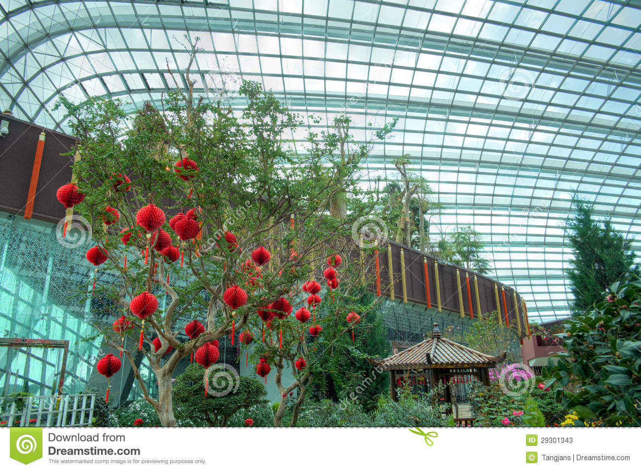 Gardens By The Bay Flower Dome Chinese New Year Stock Photos
