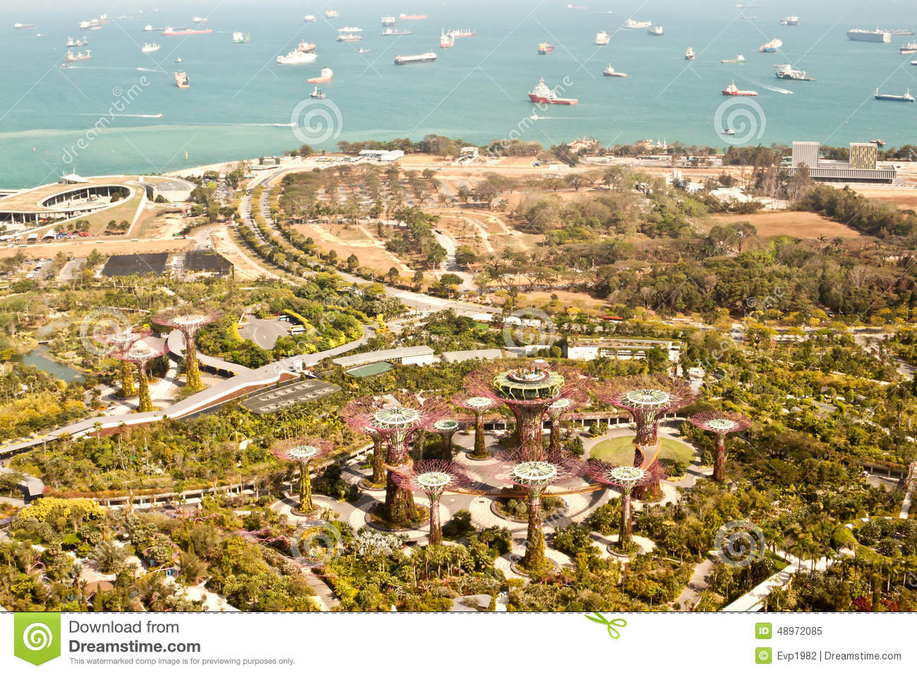 Gardens By The Bay, Singapore, Aerial View Stock Image - Image of ...