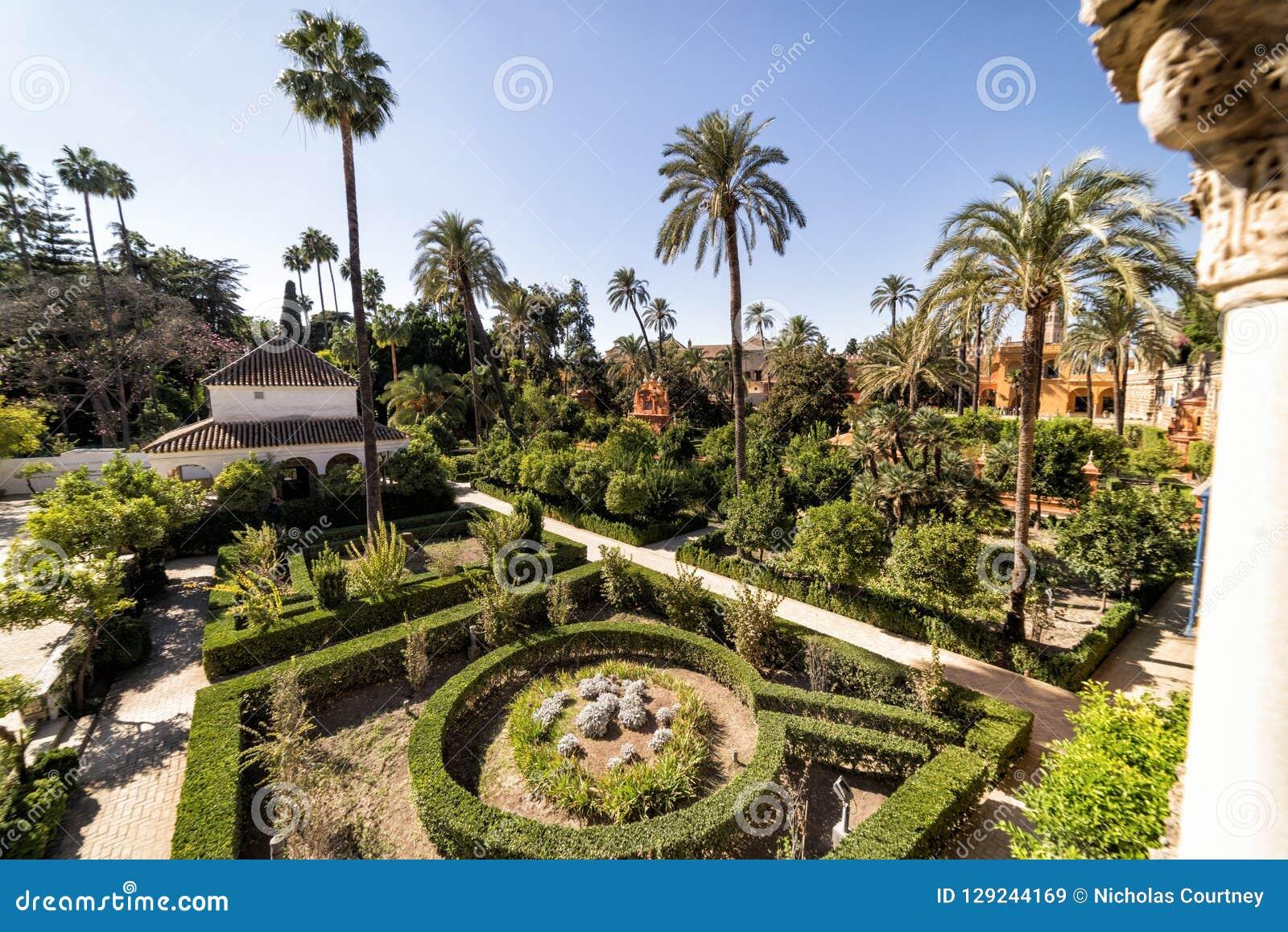 The gardens of the Royal Alcazar. Seville, Spain