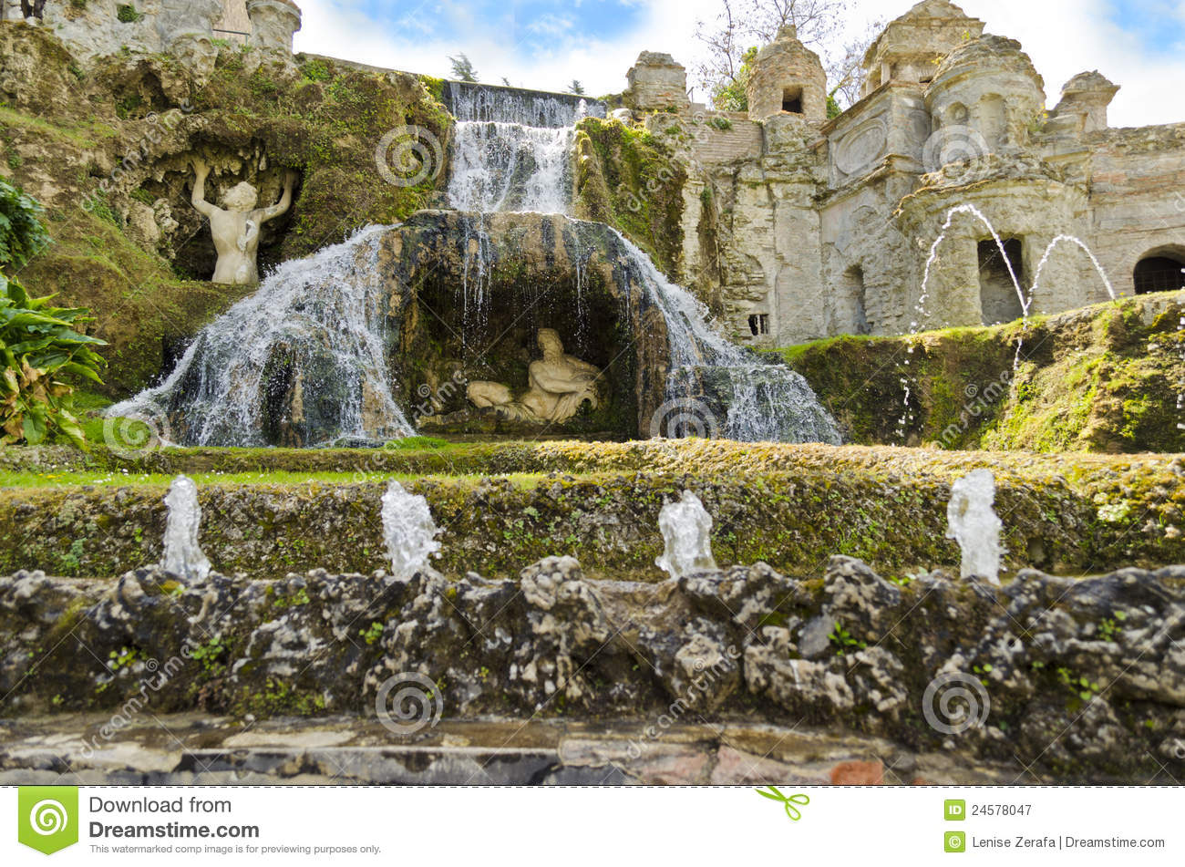 Gardens Of Villa D\'Este In Tivoli - Italy Stock Image - Image of ...