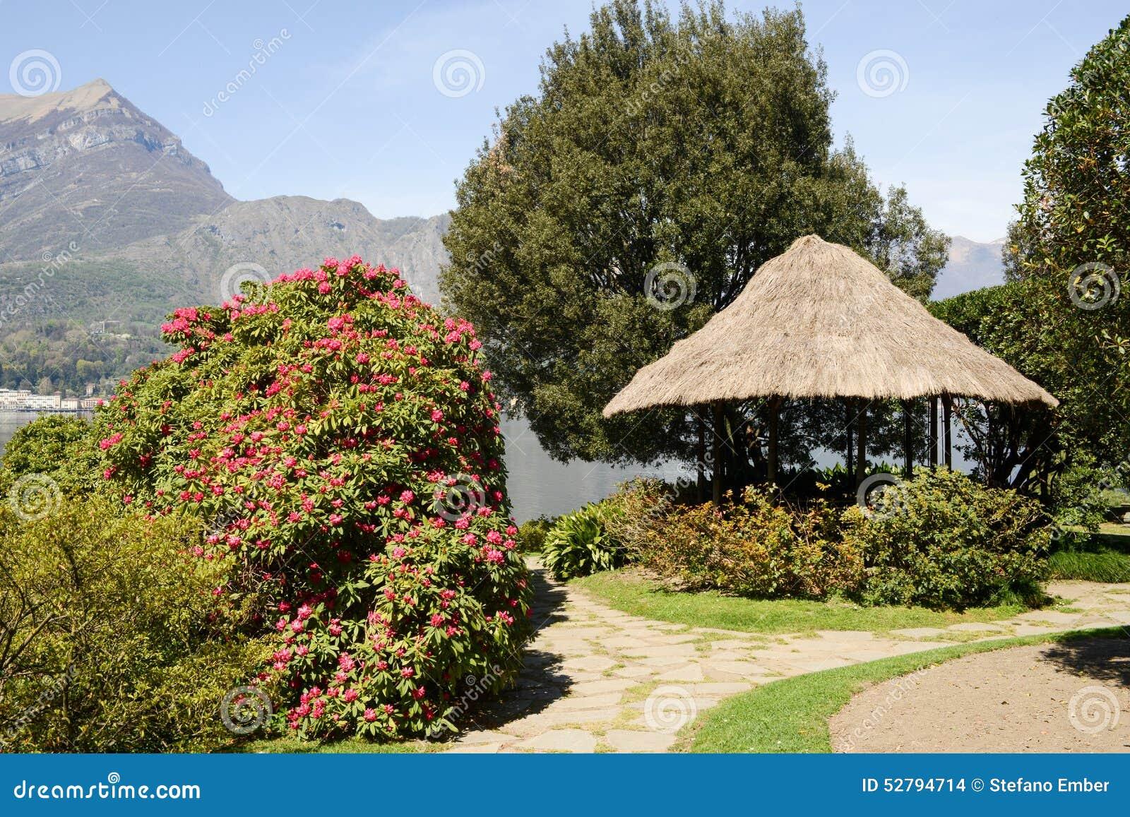 Gardens Of Villa Melzi On Lake Como Stock Photo - Image of shrubs ...