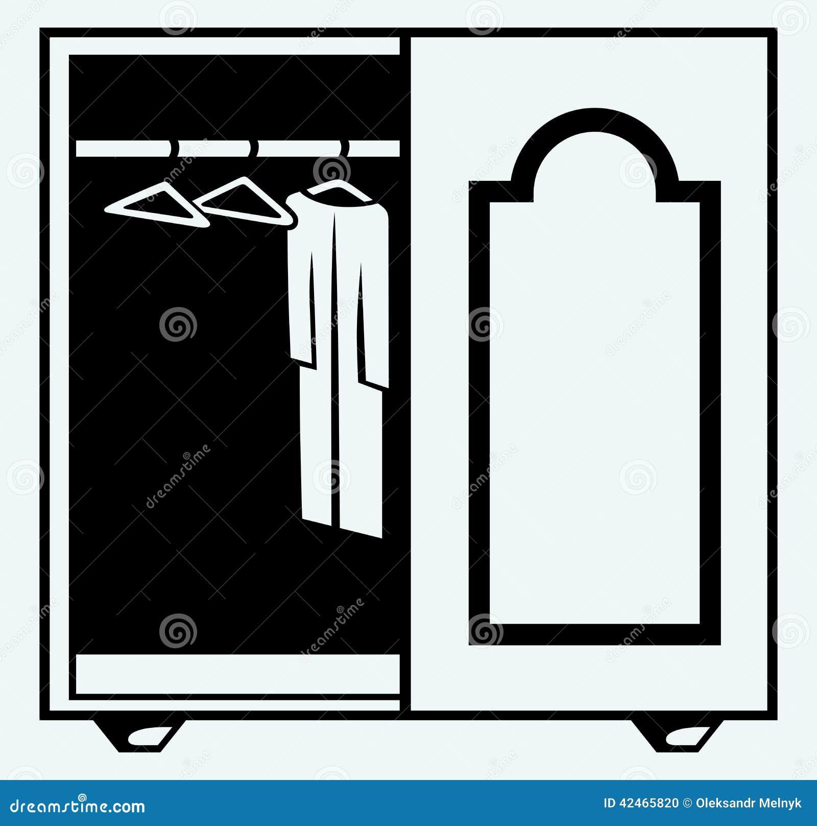 Garderobe mit Kleidung