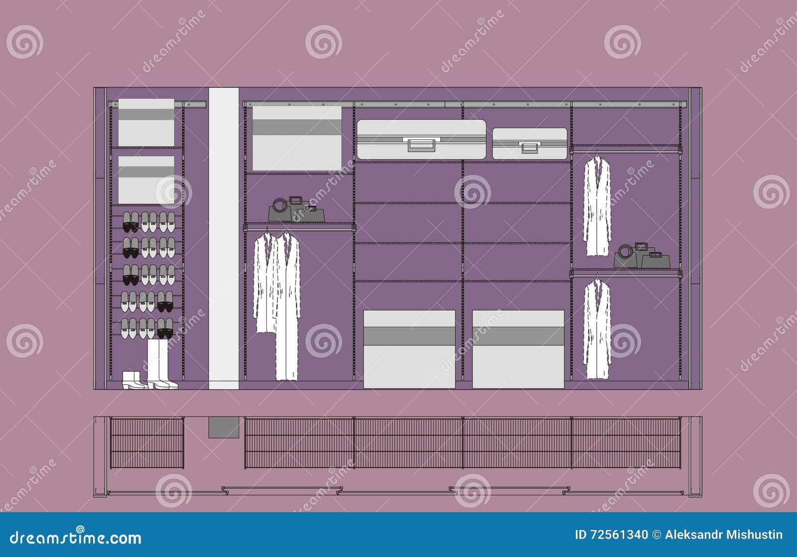 Garderoben schrank zeichnung vektor abbildung bild 72561340 for Schrank zeichnung