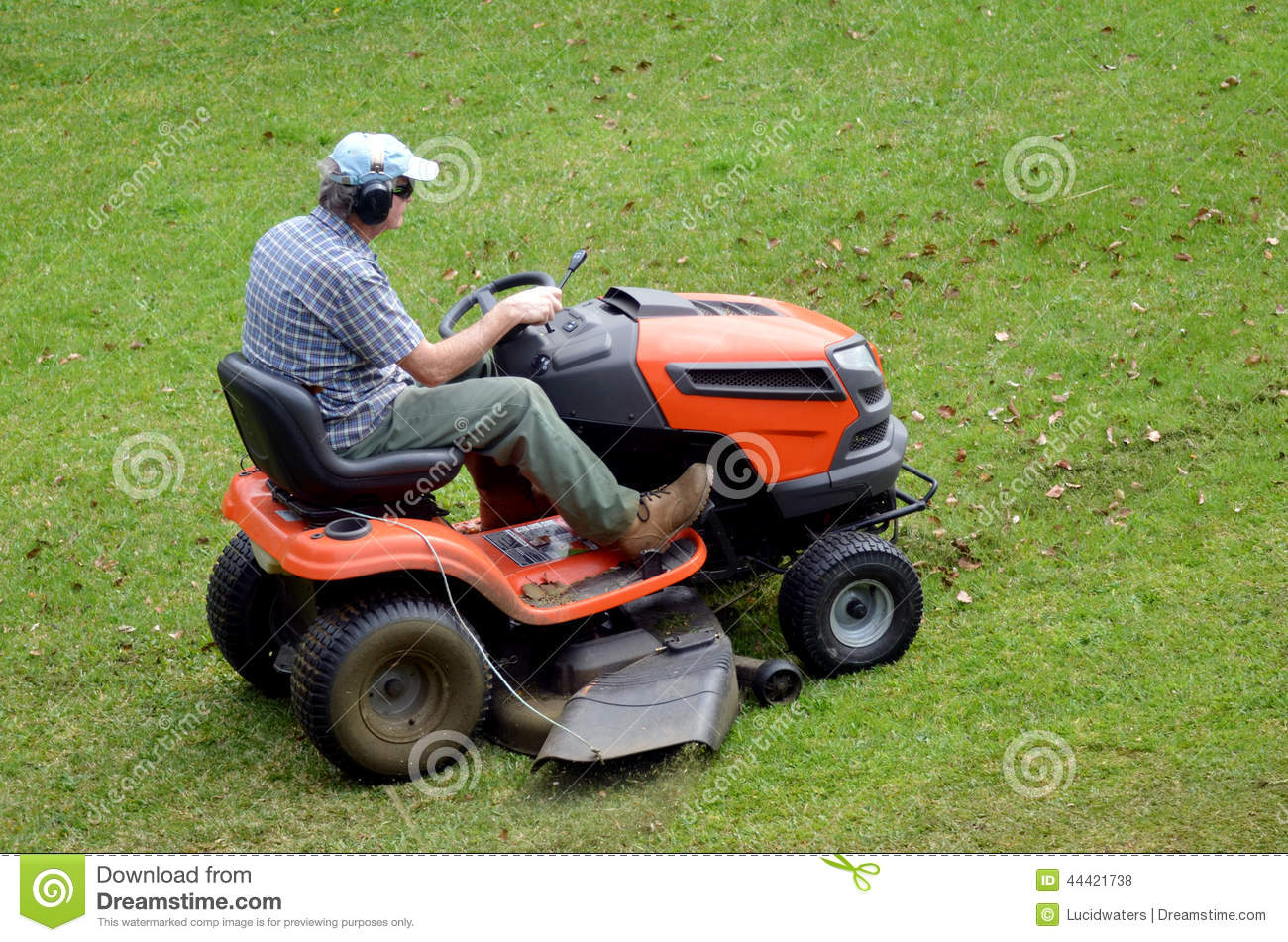 Gardner On Ride-on Lawn Stock Photo - Image: 44421738
