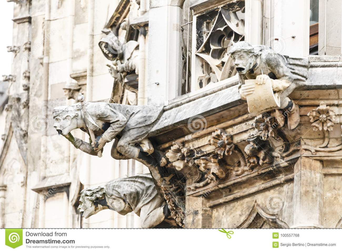 Download Gargoyle Sculptures On Gothic European Building Stock Photo