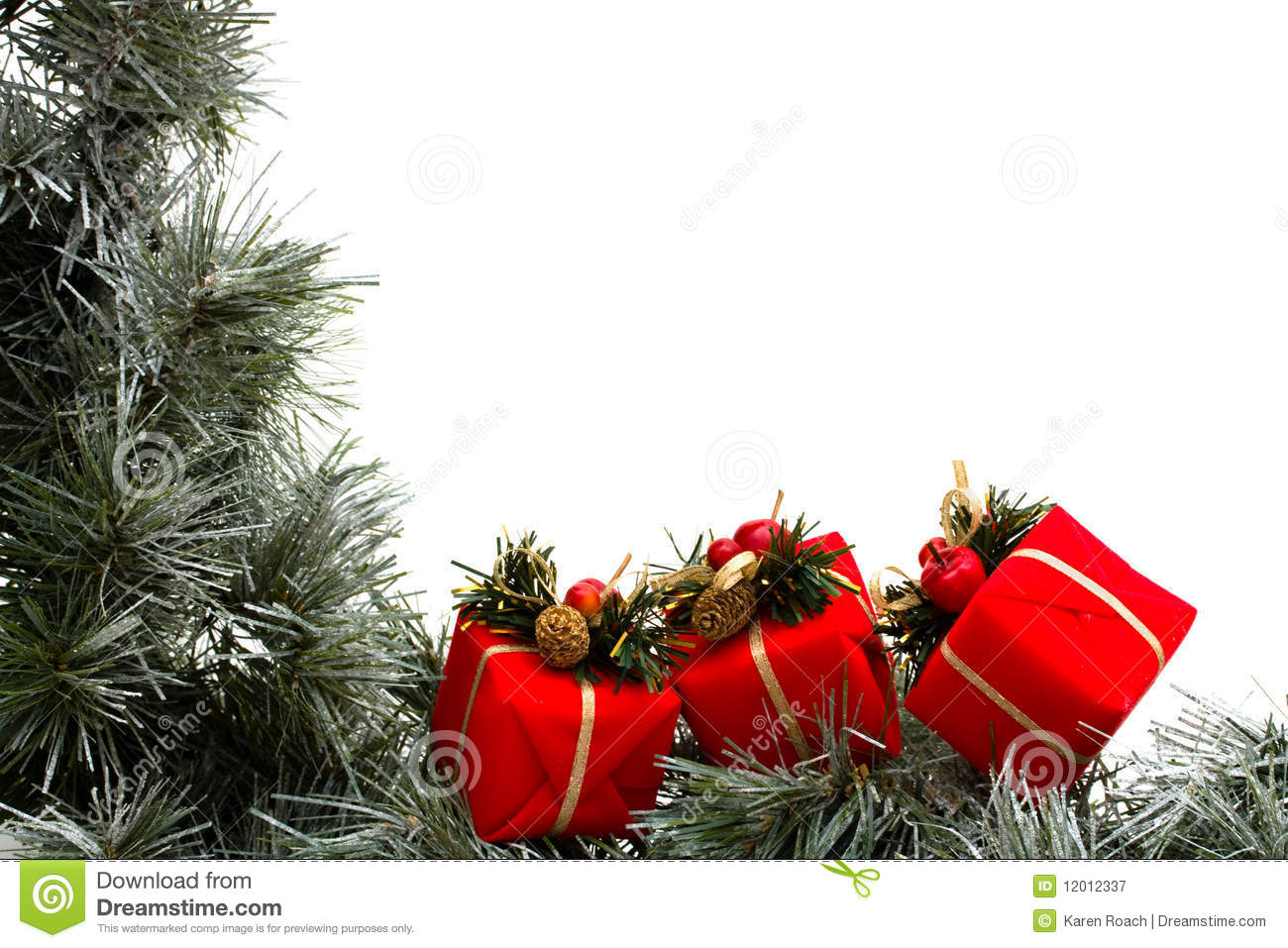 Garland Border Stock Image Of Merry Space Gifts