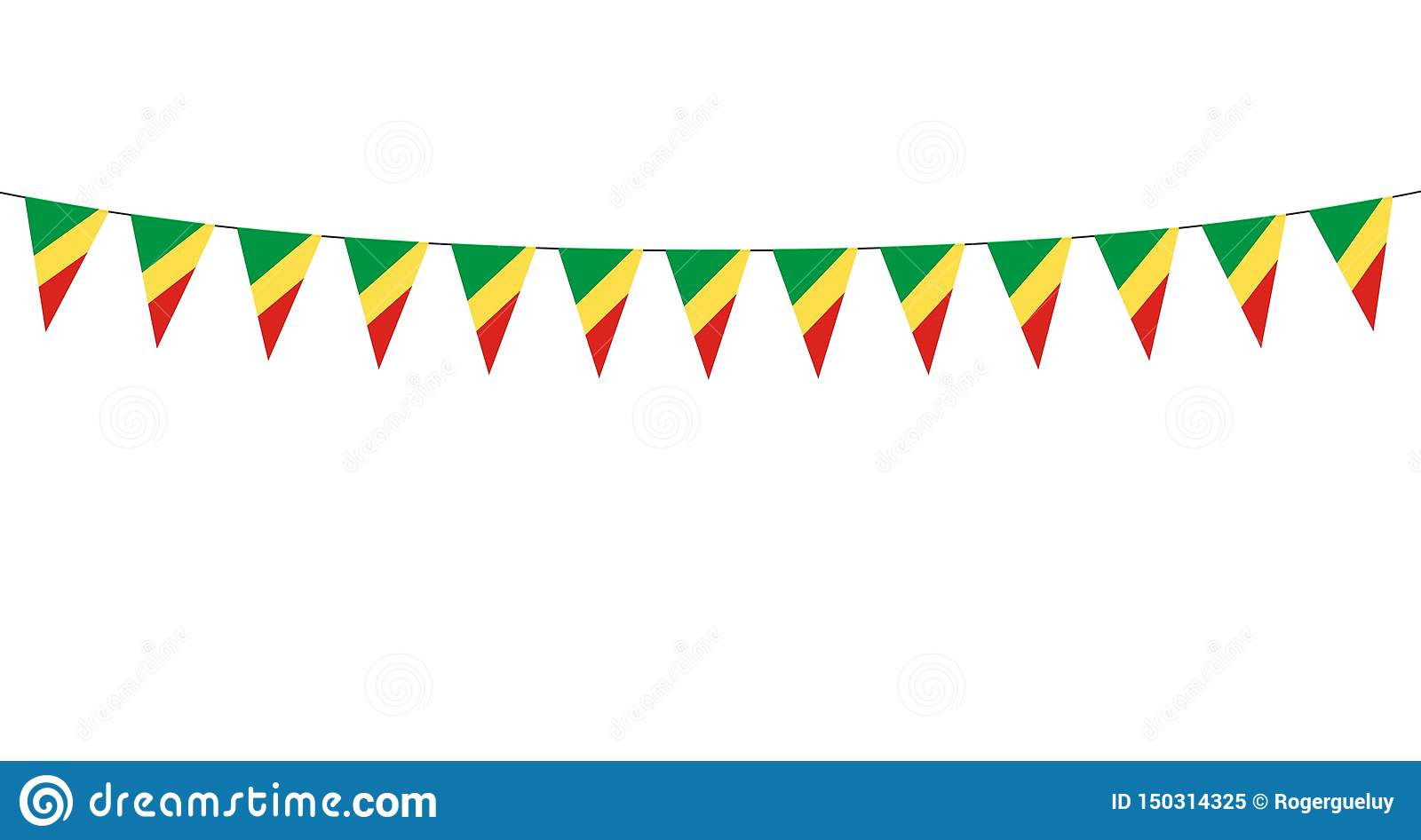 Garland with Congo republic pennants on white background