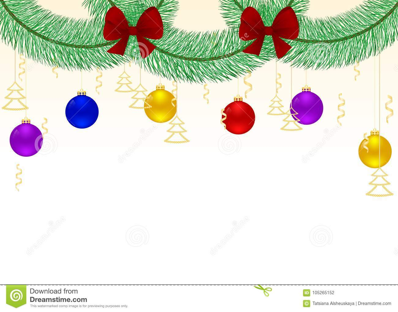 garland of fir branches with red bows and hanging christmas colored decoration