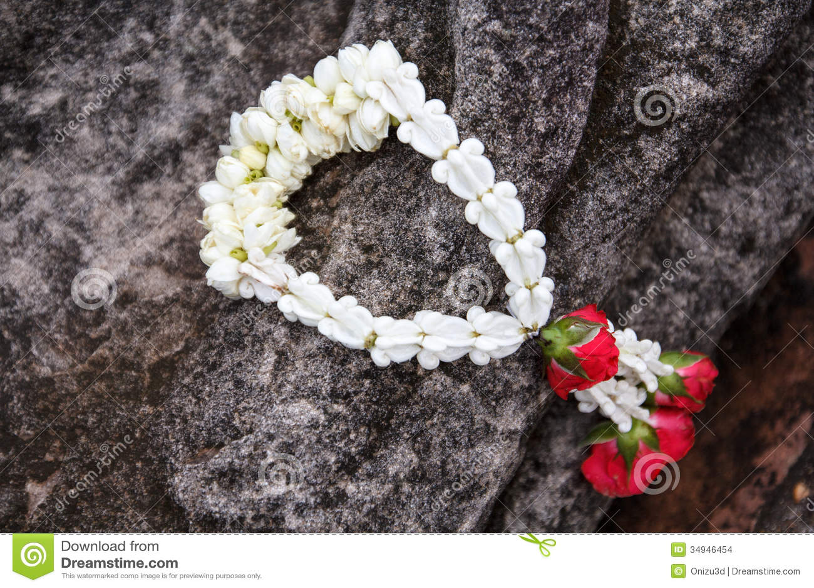 Garland Of Jasmine Flower On Hand Of Buddha Stock Photo Image Of