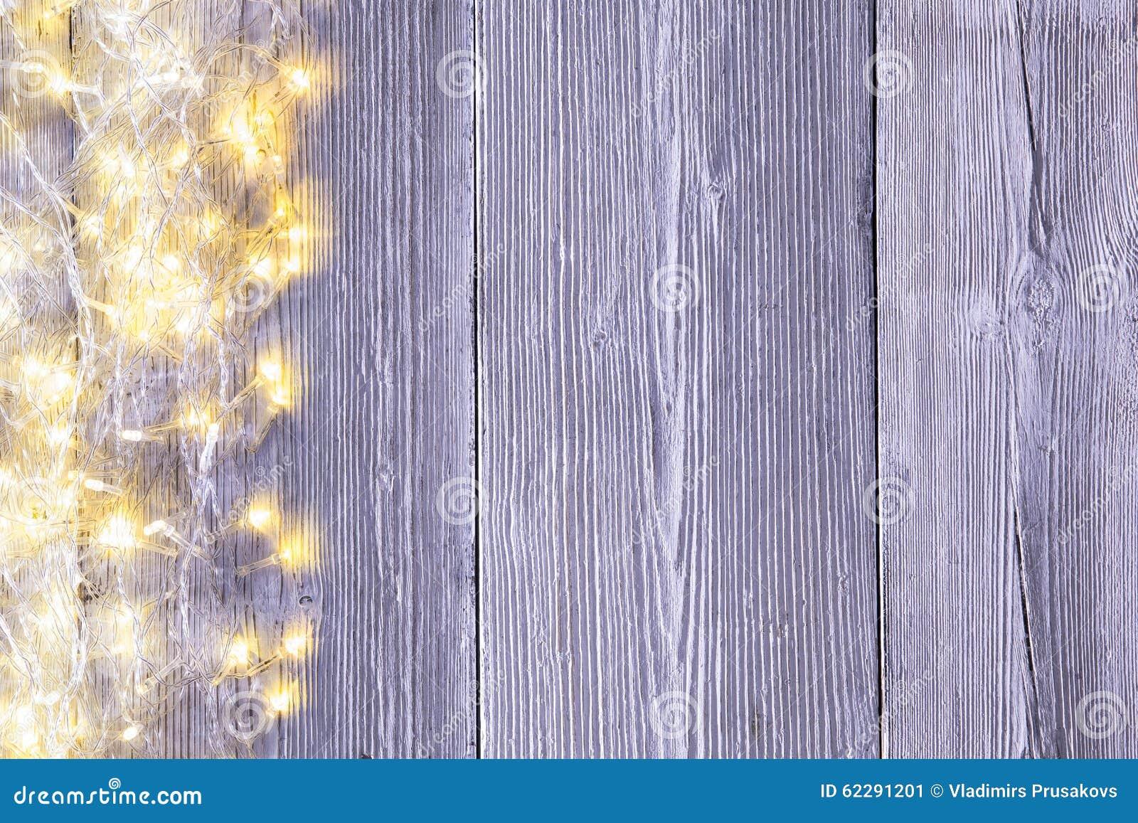 Garland Lights Wood Background Light Wooden Board Texture