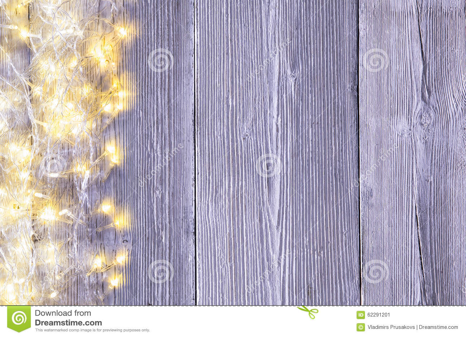 Garland Lights Wood Background, textura del tablero de madera de la luz