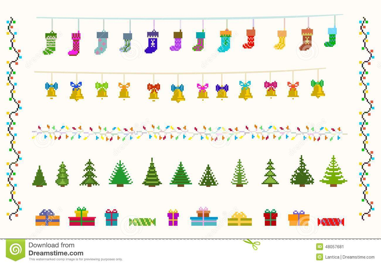 Garland Set Of Pixel Art For Christmas And New Stock Vector ...