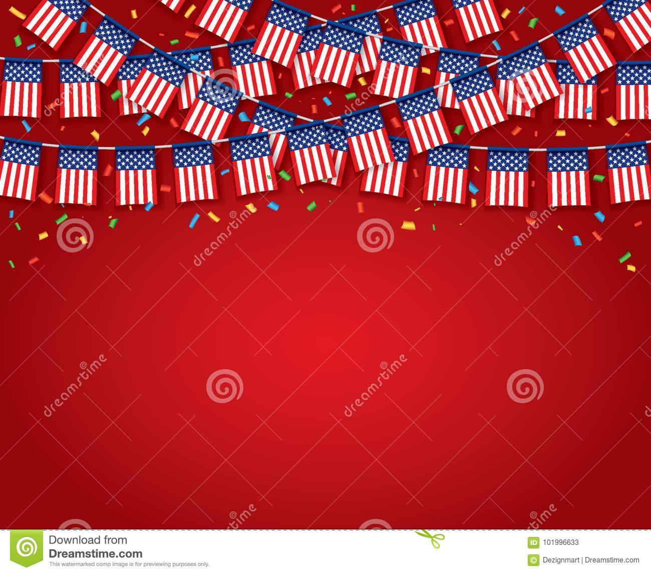 garland usa flags with red background stock vector illustration of