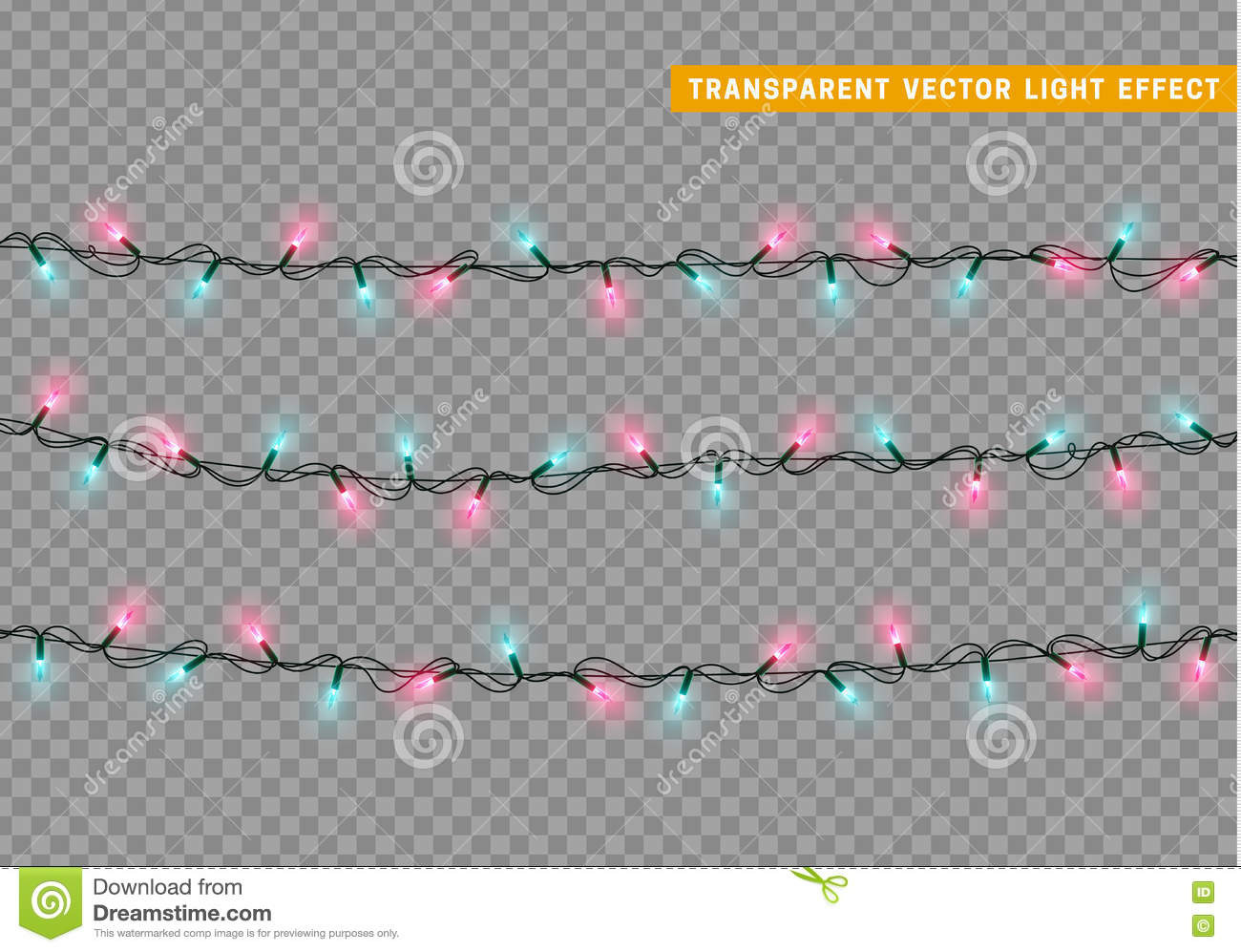 Garlands, Christmas Decorations Lights Effects. Stock ...