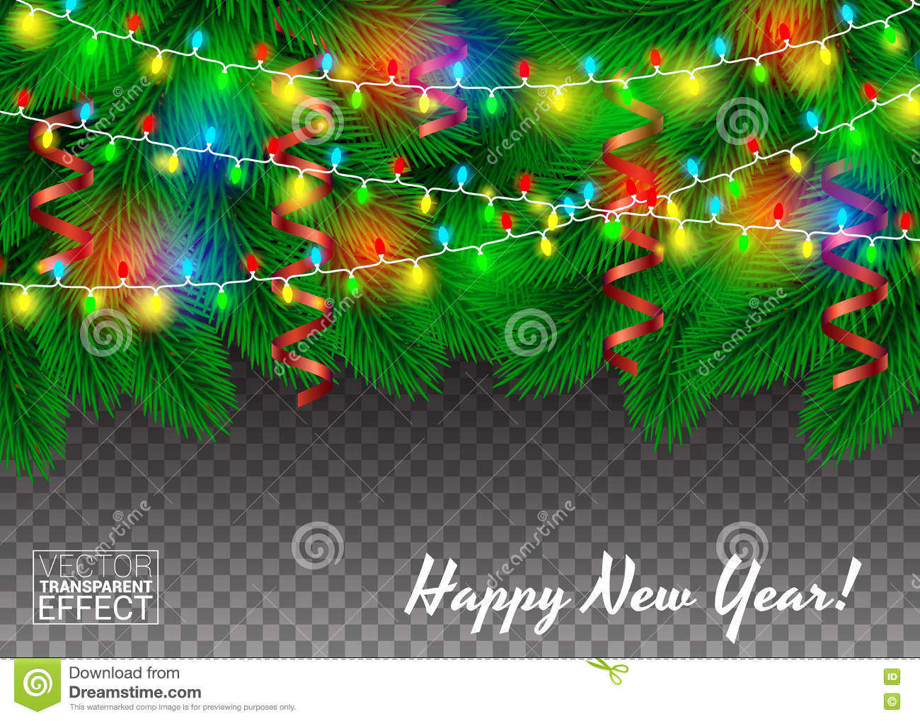 Garlands And Confetti On A Christmas Tree Green Branches Transparent Background