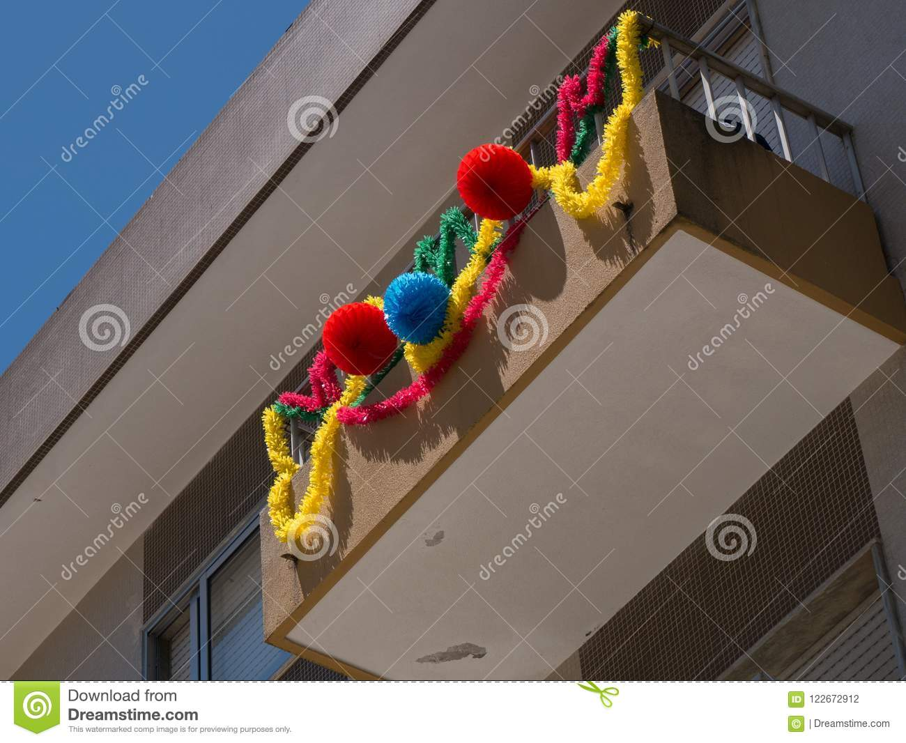 Garlands hang from balconies in Portugal to commemorate Portugal`s Saints day