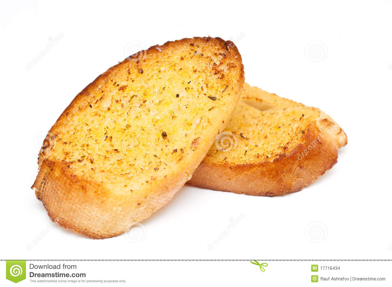 Garlic Bread Against White Stock Photo Image Of