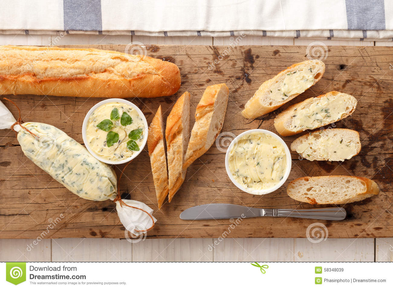... bread compound butter herb baguette thyme rosemary coriander oregano