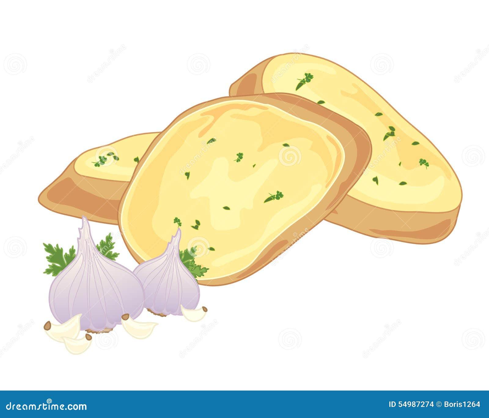 Garlic Bread Stock Vector Illustration Of Food Crusty