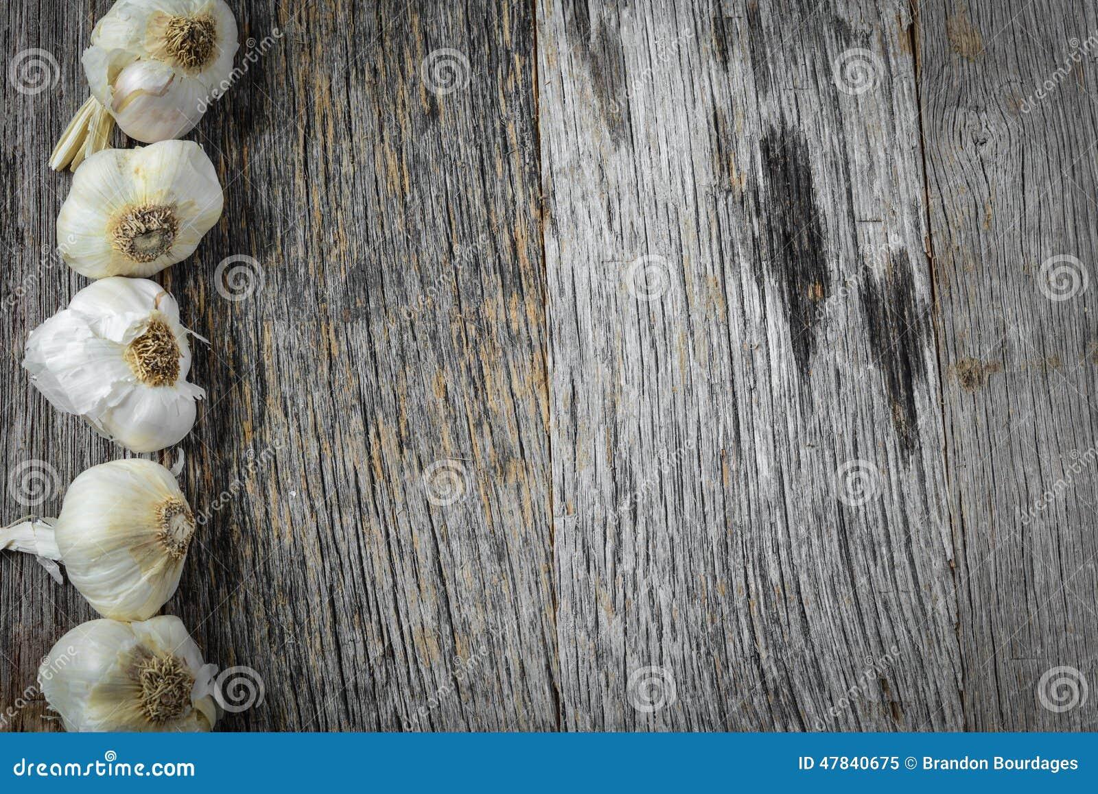 Garlic on Rustic Wood