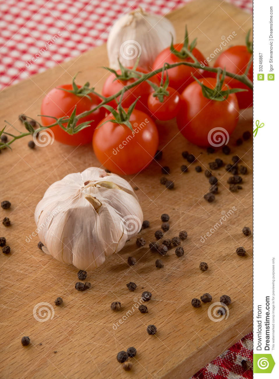 Wooden Food Table ~ Garlic tomato and pepper stock image of vegetable