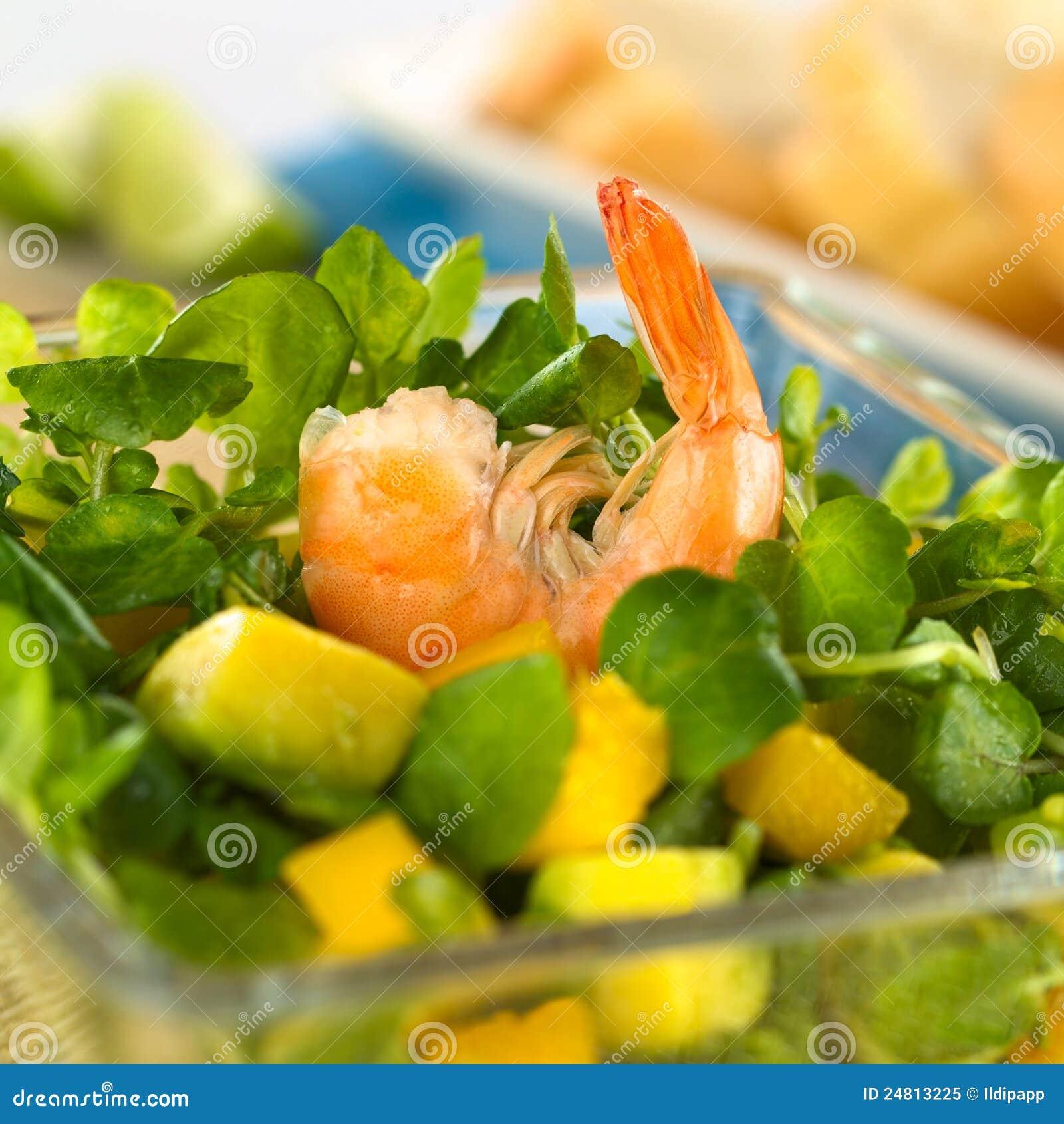 Garnalen op de Salade van de Witte waterkers