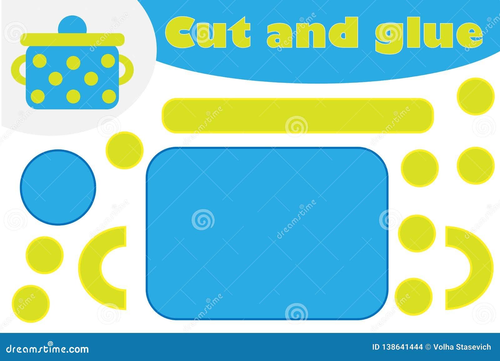 Garnek w kreskówka stylu, edukacji gra dla rozwoju preschool dzieci, używa nożyce i kleidło tworzyć