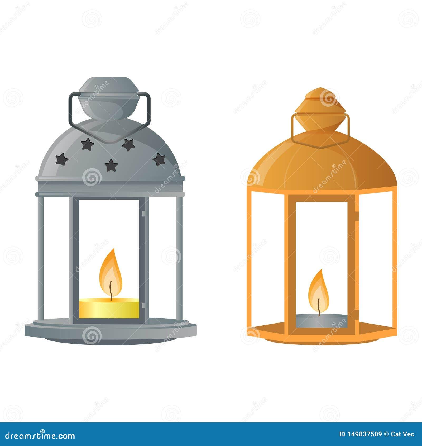 Garnering för lyktan för levande ljus för tappning för lyktan för ljusstakevektorstearinljuset och den gamla kandelaberhållareill