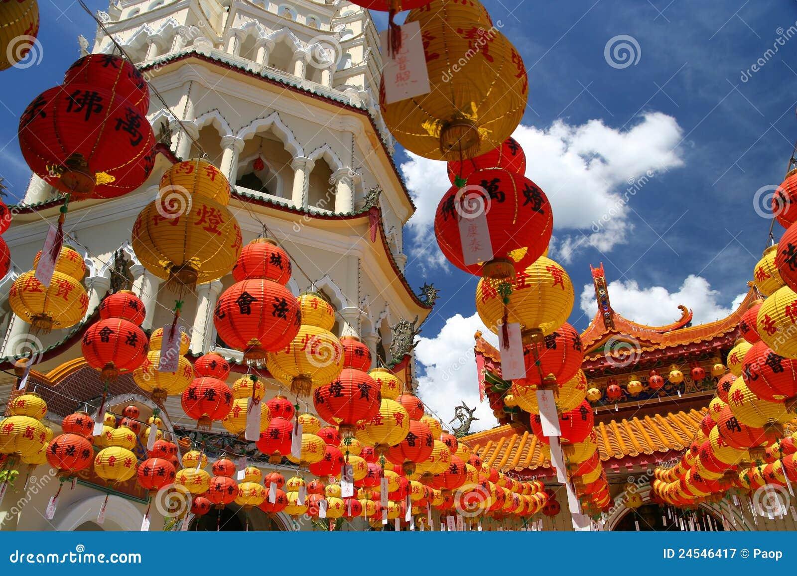 Garneringar i det Kek Lok Si tempelet