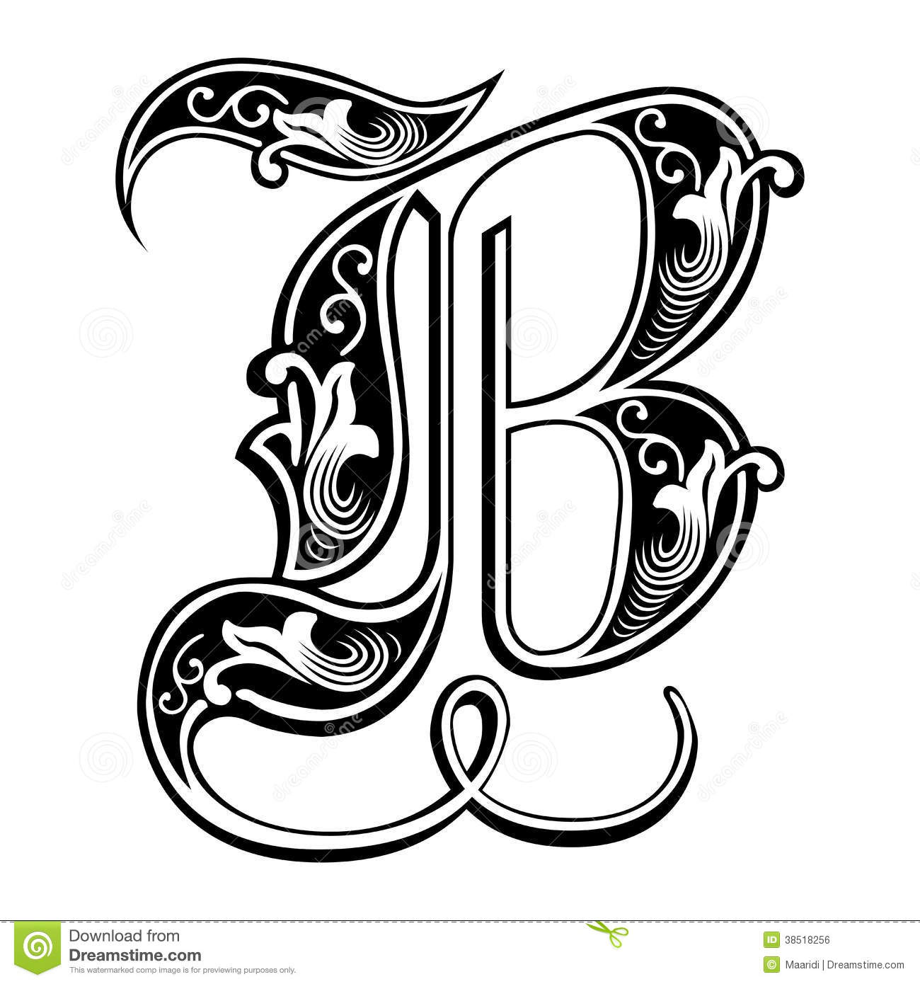 Garnished Gothic style font   B Alphabet In Style