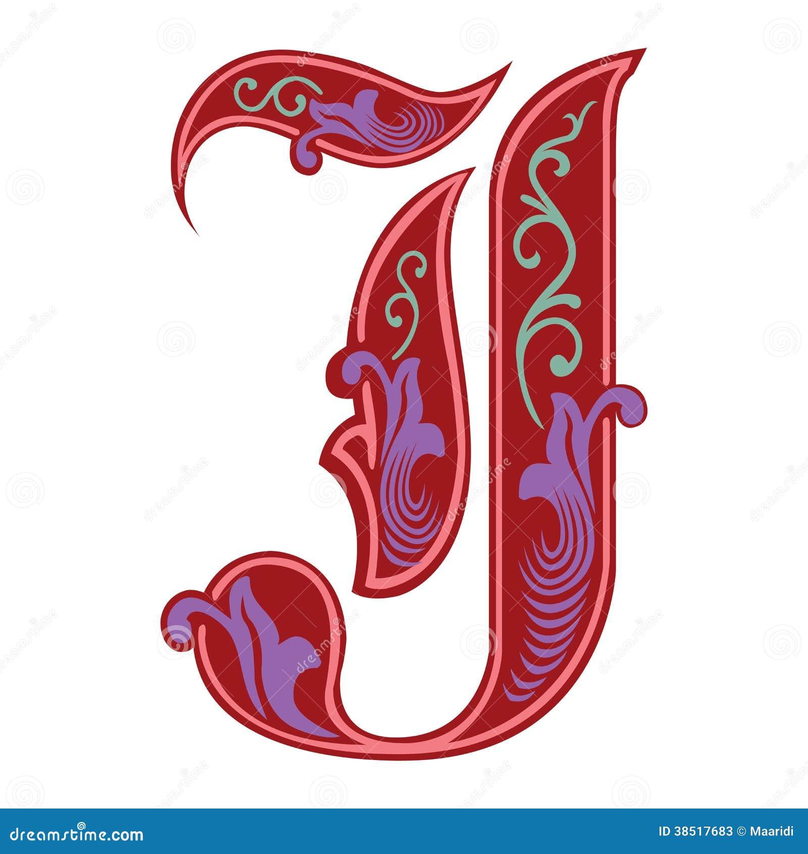 Garnished Gothic Style Font Letter J