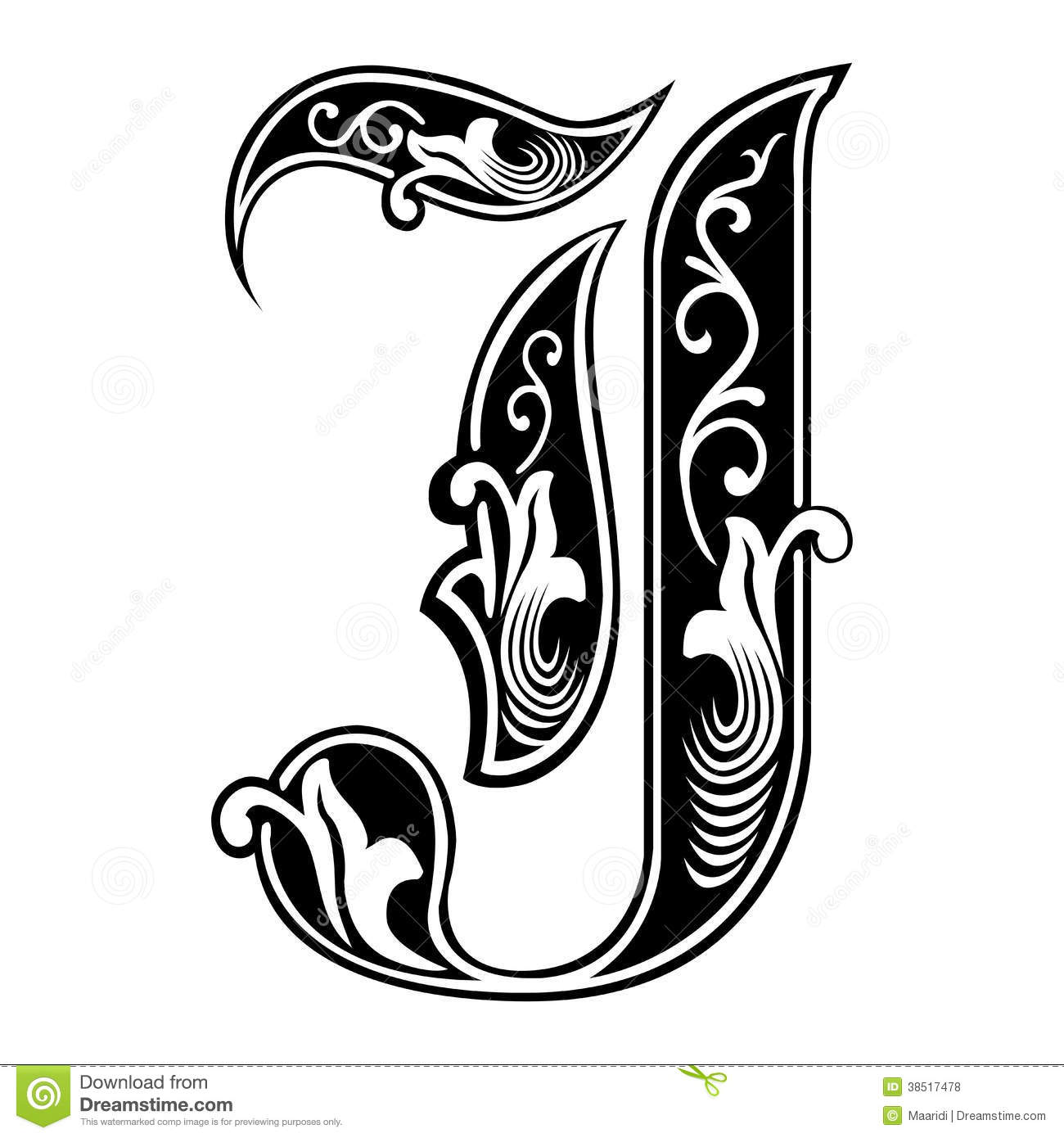 Garnished Gothic Style Font, Letter J Stock Vector   Illustration