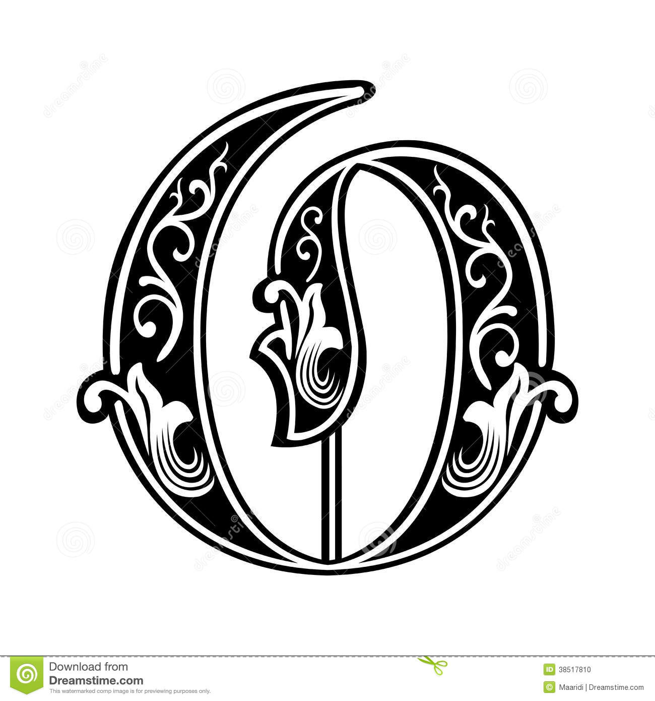 Download Garnished Gothic Style Font Letter O Stock Vector