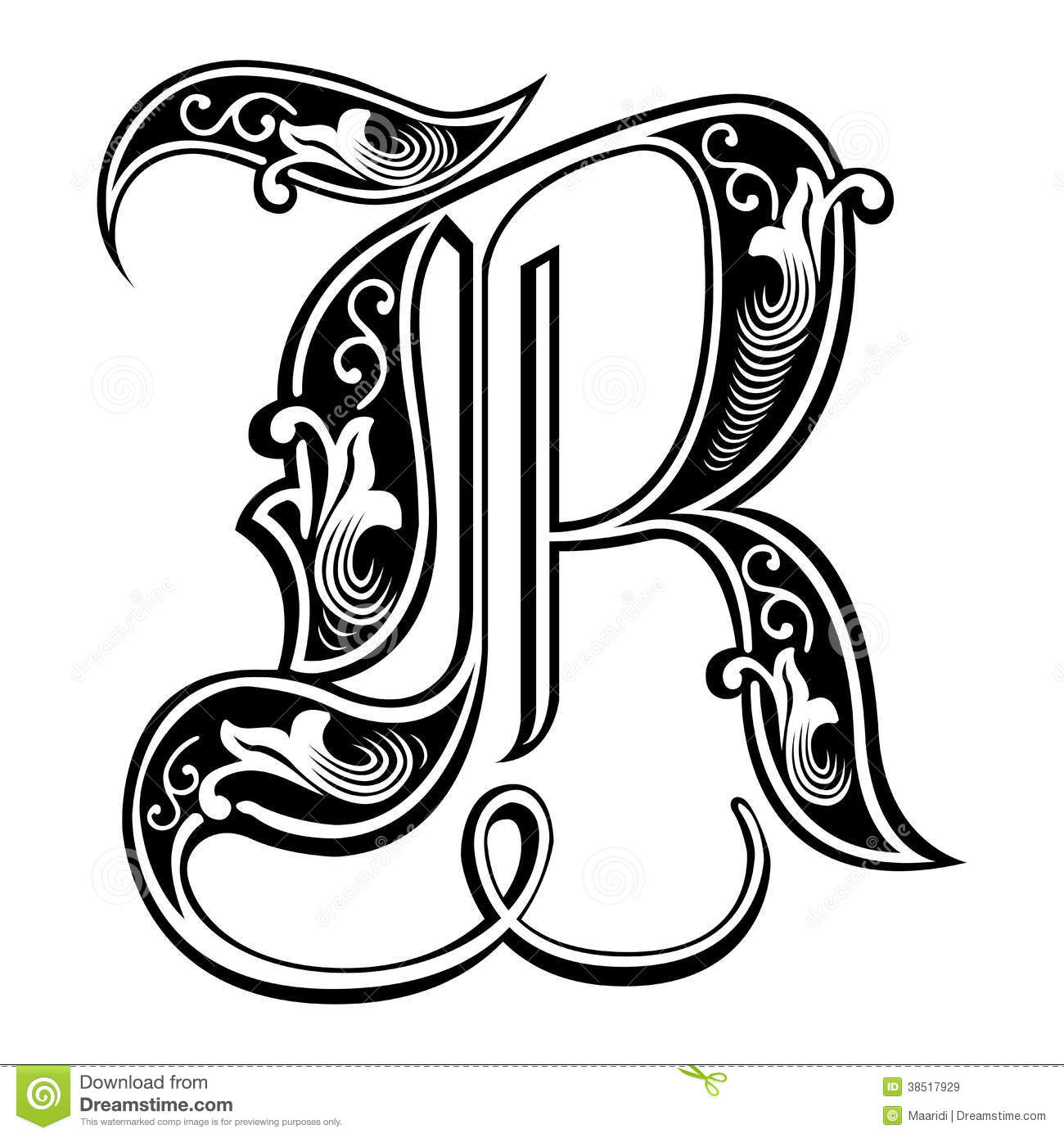 Garnished Gothic Style Font Letter R Stock Vector  Illustration Of