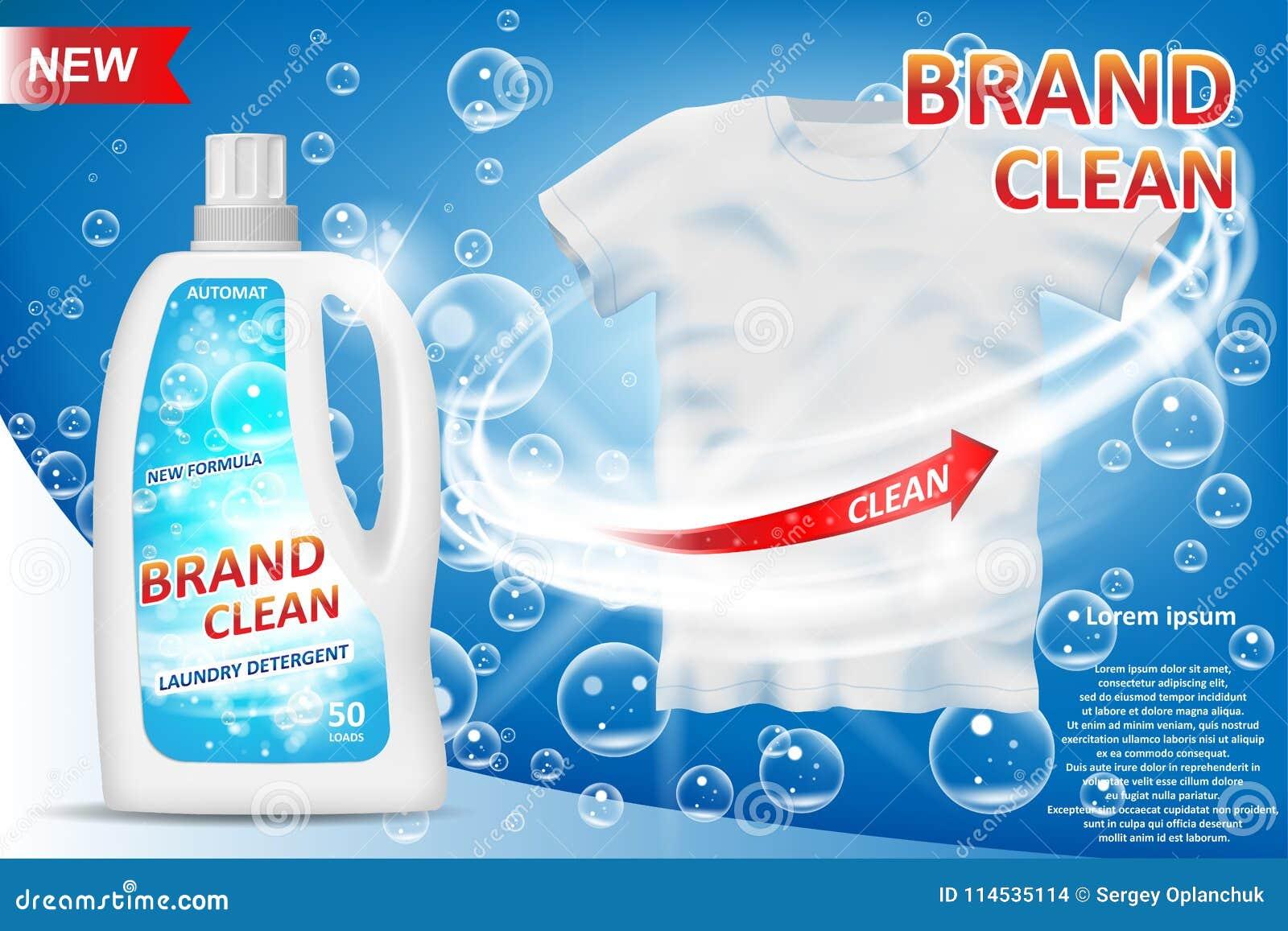 Garrafa branca do recipiente 3d com anúncio do detergente para a roupa Projeto de pacote do removedor de mancha para anunciar Det