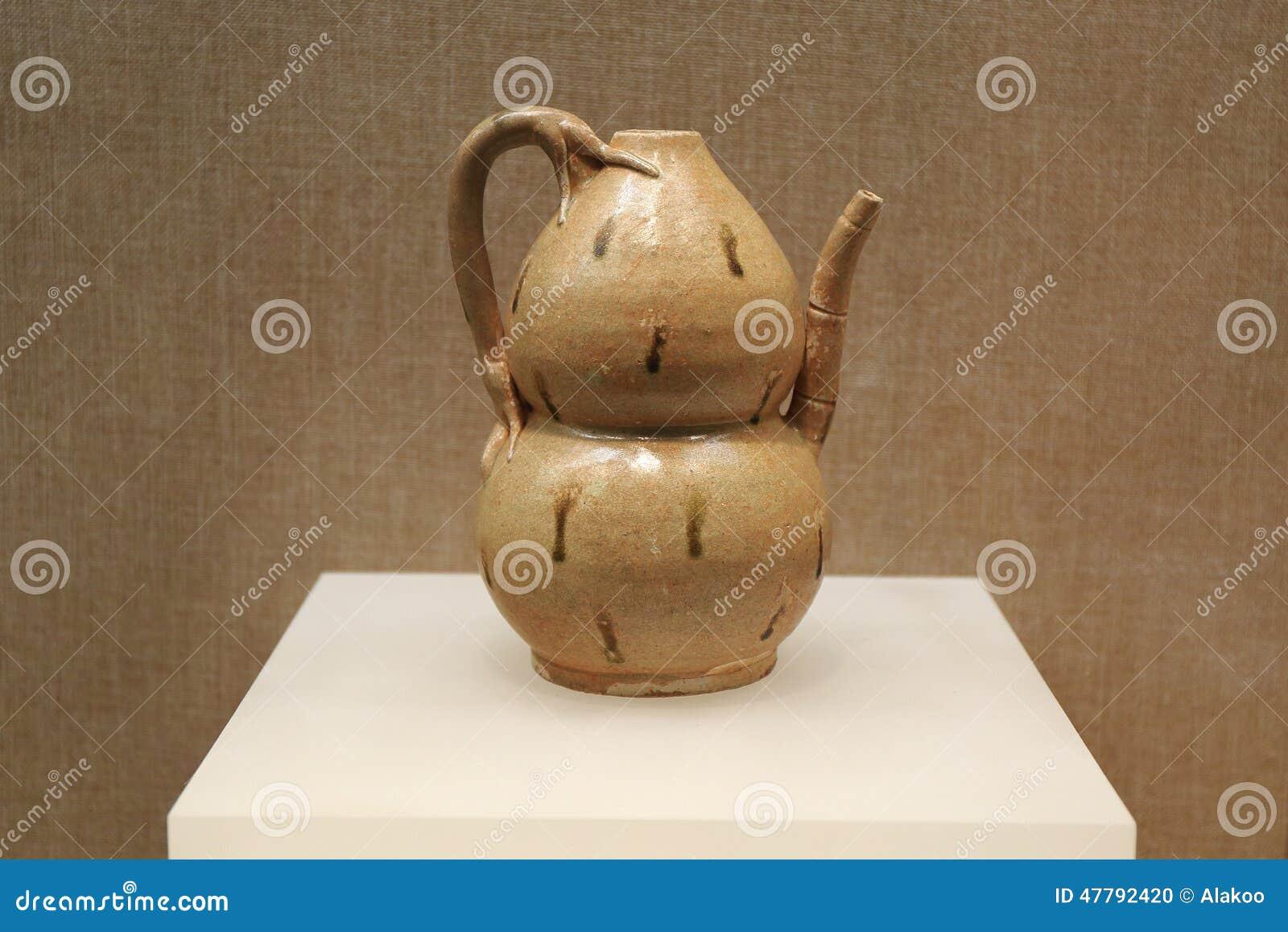 Garrafa de água tradicional chinesa da cabaça do vintage, garrafa chinesa da cabaça