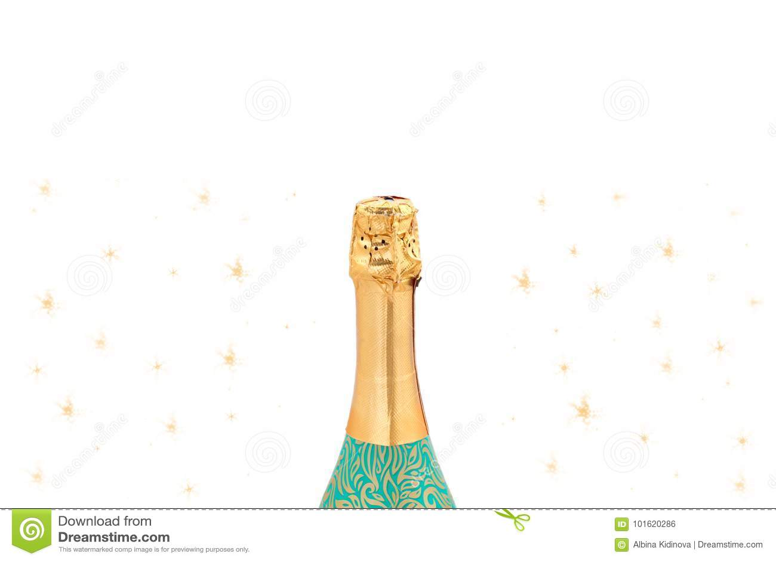 Garrafa de Champagne no fundo branco